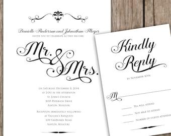 Wedding Invitation Set - Black and White Invitation, Elegant Script Wedding Invitation, Mr. and Mrs. Wedding Invitation