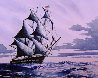 USS Constitution Print from the Original Watercolor by Michael Joe Moore