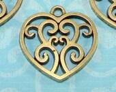 8 Scrolled Heart Charms Bronze (17104) Scroll Irish Celtic Knot Heart Pendants Jewelry Making Supplies Vintage Filigree Design Bulk Charms