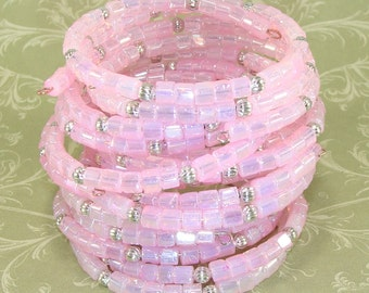 6 Pink Bracelets Iridescent Square Faceted Fire Polish Silver Bead Bangle Set Stretch Memory Wire Party Favor Valentine's Day Best Frend