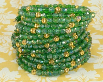 6 Iridescent Kelly Green Crystal Bracelet Set Faceted Fire Polish Gold Bead Memory Wire Stocking Stuffer St Patricks Day Christmas Jewelry