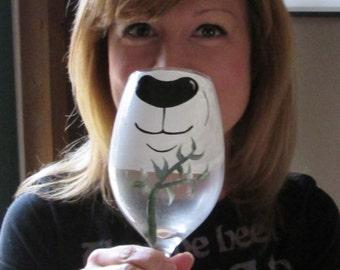 Panda Face Changing Wine Glass by Jennie Nelson