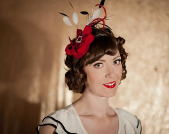 Red Wool Felt and Feather Fascinator - Race Track Red