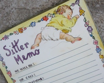 Vintage Baby Sitter Memo Bulletin Board Message Board 1970s Yellow