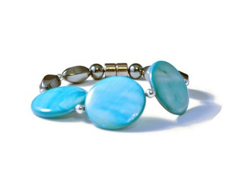 Magnetic Hematite Health Bracelet with Sky Blue Shell Beads, Arthritis Jewelry