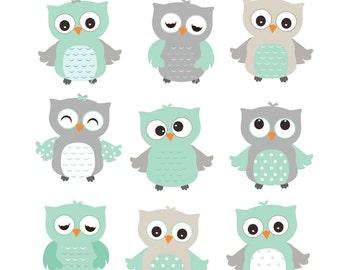 Mint Green Owls Clip Art, Teal Owls Clip Art,Teal Grey owls Clipart, Baby Boy Owls Clip Art,Green Owl Clip Art,Owl clipart