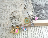spring charm earrings assemblage watch face sassy mismatch