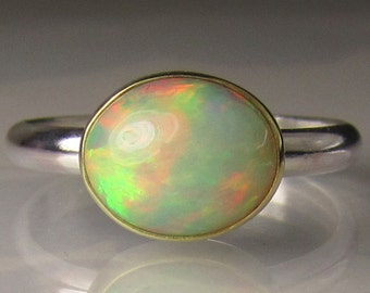 Ethiopian Opal Gemstone Ring - 18k Gold and Sterling Silver