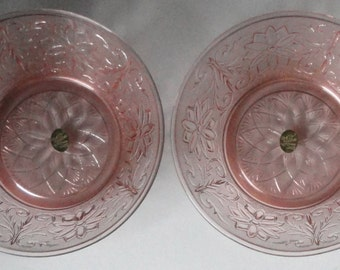Vintage TIARA EXCLUSIVES Pink Peach Sandwich Pattern Bowl. Set of 2 in Original Box.