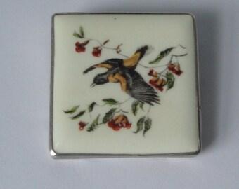 Sterling Frame Tile Bird Signed Ingeborg Brooch Pin. Hand Made
