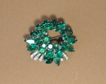 Silver tone Green and clear Rhinestones Large Brooch, Pin.