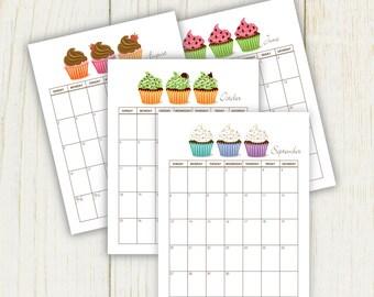2016 Cupcake Calendar Sheet digital files 8x11 sheets