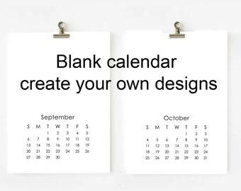 2017 Blank Calendar printable digital file create your own designs 5x7
