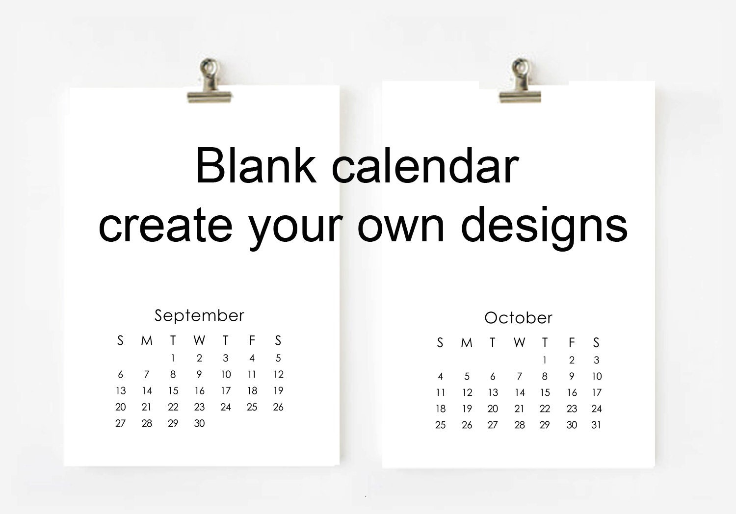2018 blank calendar printable - digital file