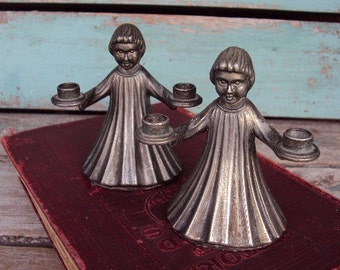 Vintage Italian Candle Holder Set Christmas Carolers Alter Boys Catholic Silver Plate