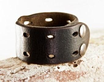 Black Leather Cuff Bracelet - Women's Leather Bracelet Cuff - Leather Wristband Wrist Cuffs