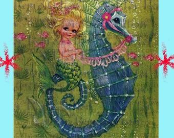 VINTAGE MERMAID Greetings Postcard 1950's Mermaid Fabric Applique Baby Fabric Block merb05.