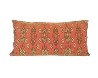 Ikat, Pillow, 12 x 24, Nectarine, Orange