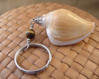 Sea Shell and Tiger Eye Bead Keychain, Silver Toned