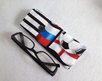 Reading Glasses Case - black and white soccer balls and stripes, small, soft eyeglasses sleeve, readers cozy,  travel accessory for purse