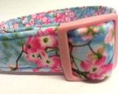 Pink Blue Cherry Blossom Flowers Fabric Dog Collar Girl
