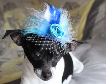Blue  color   mini  hat with   feather  for dog or cat