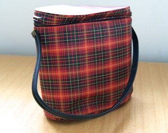 Red Plaid Purse / Tote / Lunch Bag - Vintage 1950's/60's