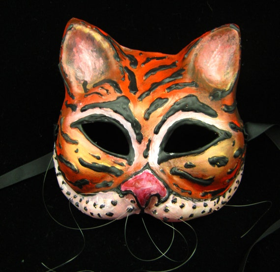Sale! Le Tigre Mask, Tiger/Cat handmade mask for Masquerade/Cosplay/Halloween
