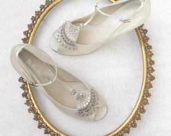 Wedding Shoes low heel with Art Deco Beaded Crystal Applique Flapper T-Strap Peep Toe Heel Silk Bridal Shoes