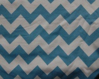 Cotton Flannel Fabric Blue and White Chevron