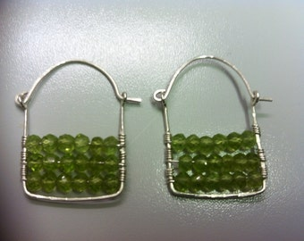 Sterling Silver Square Hammered Earrings with Faceted Peridot