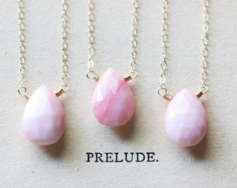 Valentine's Day Pink Opal Necklace on Gold Fill Chain - Urbino - Feminine Layering Necklace - October Birthstone - Bridesmaid Gift Set
