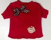 Red Sock Monkey TShirt Clothes Size XXXS through Medium by Doogie Couture
