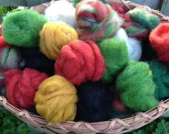 Alpaca Wool Roving, Christmas Colors, Reds, Greens, White, Golds, Black