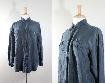 Vintage Forest Green Silk Button Down / Vintage Silk Top