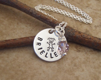 Little girl's name necklace - Flower girl necklace - Birthstone necklace - Sterling silver personalized jewelry - Photo NOT actual size