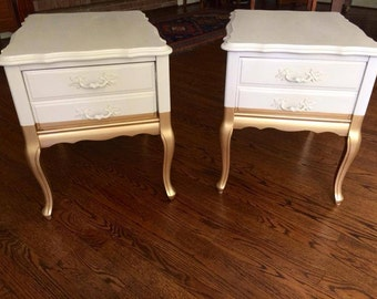 French Provincial Gold Dipped End Tables