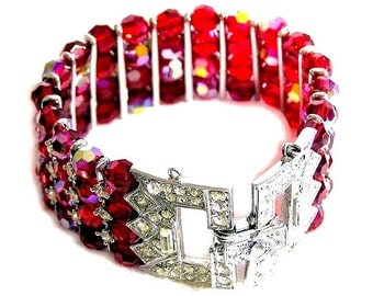 Red Aurora Borealis Glass Bead Bracelet , Fancy Clasp, Short 6-3/4