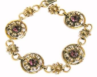 Amethyst Rhinestone 12K GF Foral Bracelet
