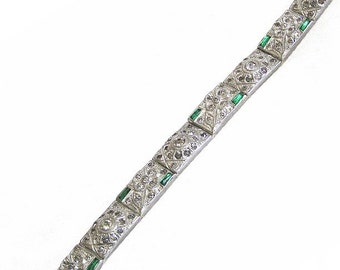 Art Deco Emerald and Clear Paste Rhinestone Bracelet