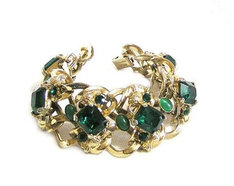 Kafin Emerald Green Rhinestone Bracelet
