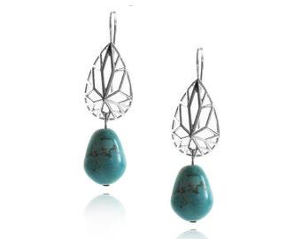 Dangle Earrings, Geometric Silver Earrings, Bridal Earrings, Sterling Silver Earrings, Turquoise Howlite Earrings