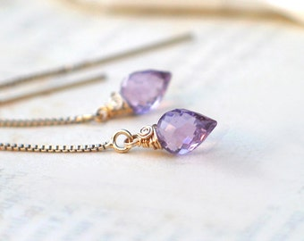 Amethyst Threaders Earrings | Light Pink Inverted Teardrop Briolettes | 14k Gold Fill | Rose Gold Fill | Sterling Siver | February Birthday
