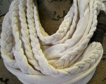 SALE!! Soft Wrap Cream Braided Infinity Scarf