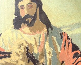Vintage Jesus with Sheep Framed Paint by Number Colorful Kitsch Wall Hanging