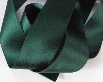 Vintage 1930's-40's French Double Face Satin -Milliners Stock- 1 5/8 inch Gorgeous Jewel Green