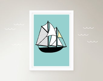 Ship nautical sailing boat illustration green turquoise digital print poster customised kids room decor