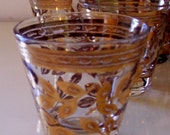 Mid Century Vintage Cordial Shot Glasses with Gold Leaves Set of Eight