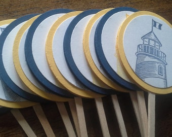 Retirement Cupcake Toppers, Lighthouse cupcake toppers, traveling cupcake toppers - Set of 12