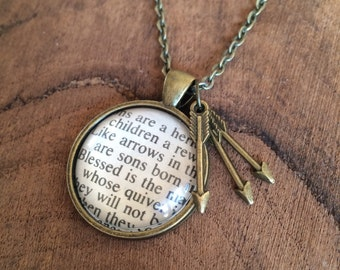 Upcycled Bible Necklace - Children Like Arrows